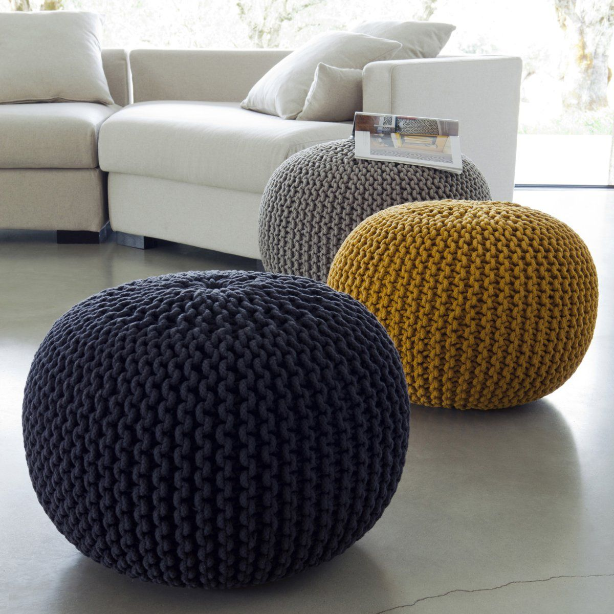 pouf maille tricot e jakob am pm la redoute 995. Black Bedroom Furniture Sets. Home Design Ideas