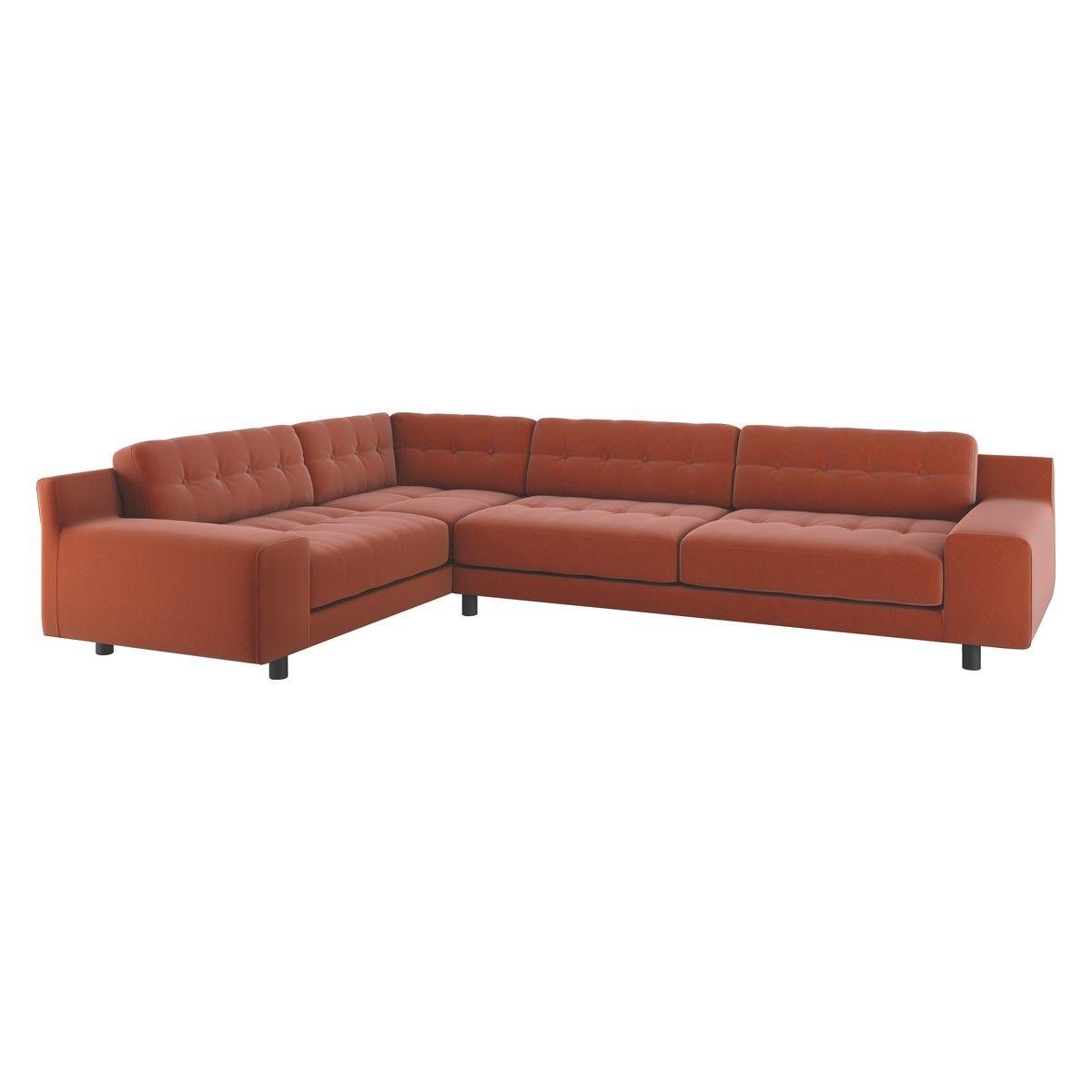 Hendricks Orange Velvet Right Arm Corner Sofa Corner Sofa Buy Sofa Sofa
