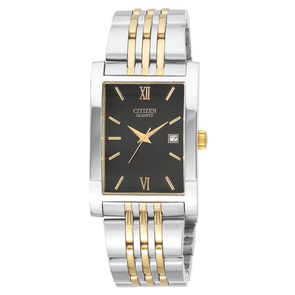 Citizen Bh137451e Men's Quartz Rectangular Black Dial Two Tone Steel  Bracelet Watch