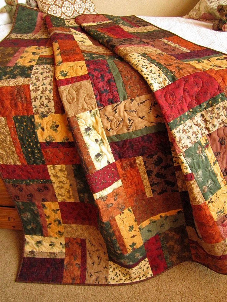 Handmade Patchwork Quilt Mountain Cabin | Patchwork. Store tæpper