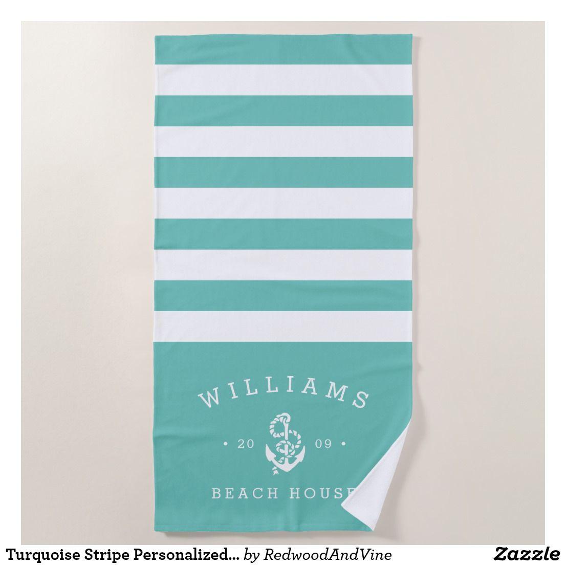Turquoise Stripe Personalised Beach House Beach Towel Zazzle Co