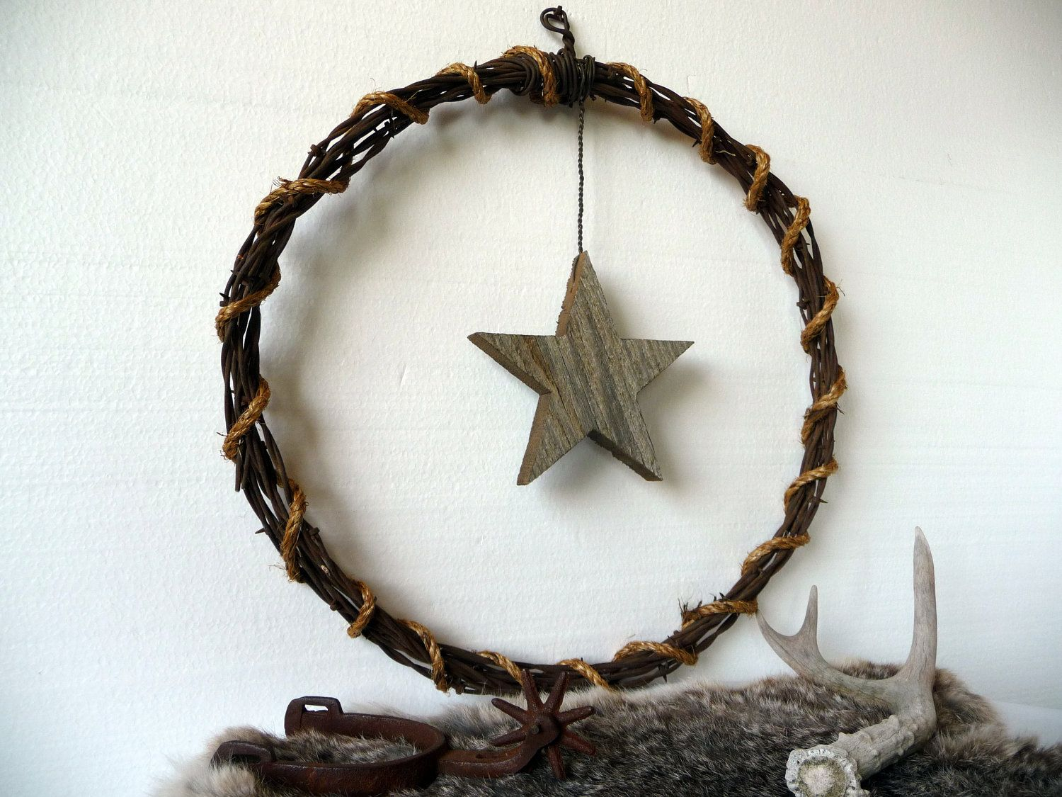 Western Star Barb Wire Wall Hanging Wreath by Plus Z. $23.00, via ...
