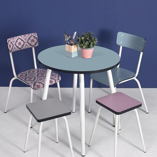 Table Ronde Style Bistrot En Formica Leon Les Gambettes Jade Decoclico Idees De Decor Table Table Ronde Rallonge