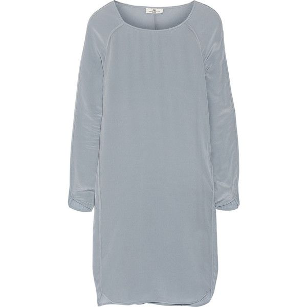 DAY Birger et Mikkelsen Washed-silk dress featuring polyvore, fashion, clothing, dresses, blue, loose fitting dresses, loose fit dress, day birger et mikkelsen, loose dress and blue dress