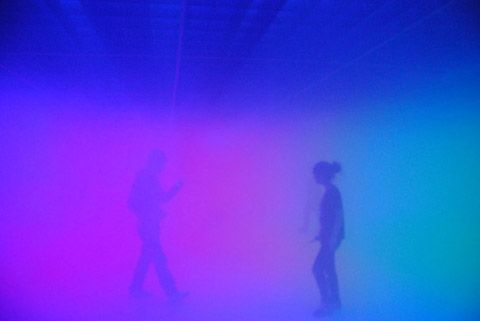 This summer, artist Olafur Eliasson collaborates with architect Ma Yansong to create a sensory installation at the Ullens Center for Contemporary Art in Beijing.    The installation challenges visitors' perception and balance by playing with artificial fog, light spectrum, lowered ceiling and inclined floors — blurring usual references. Senses are fully engaged – visitors have to find new ways to visually and spatially understand their environment in order to navigate through it.