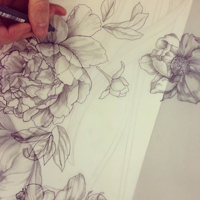 - In The Studio - We are busy drawing new floral designs today. All our elements start off by hand. We are one of the only studios that still use hand drawing skills. - from Instagram