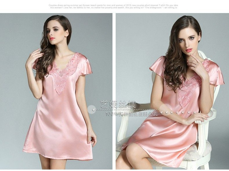 100% Genuine Silk Nightgown Female Sexy Lace V-Neck Night Gowns Short Sleeve  Embroidery b4a5d9374
