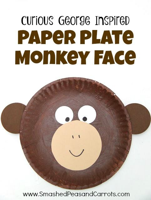 Curious George Inspired Paper Plate Monkey Craft Enrichement