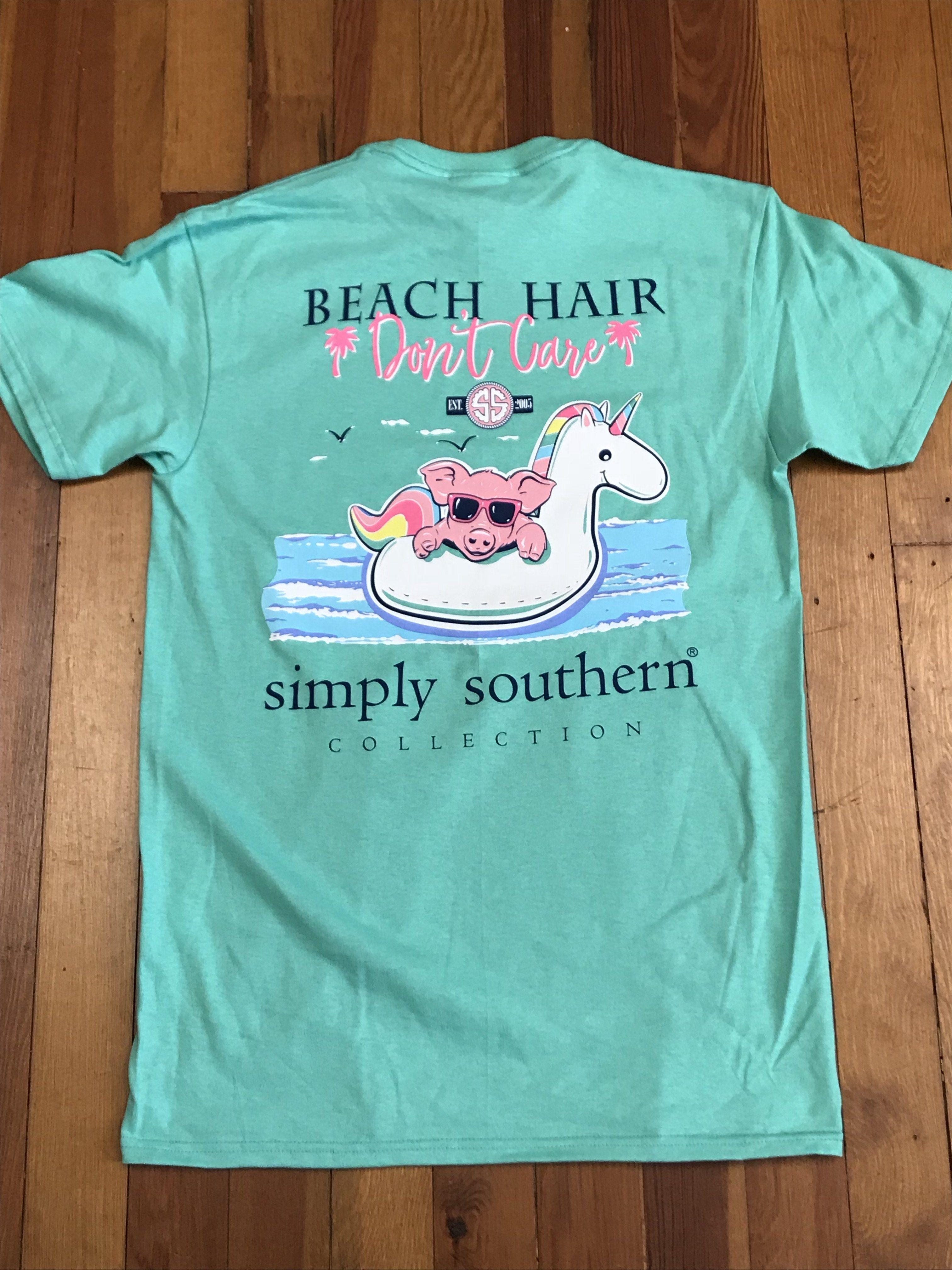 4e2290f3 Beach Hair Don't Care Pig Tee   shopping   Beach hair, Tees, Mens tops