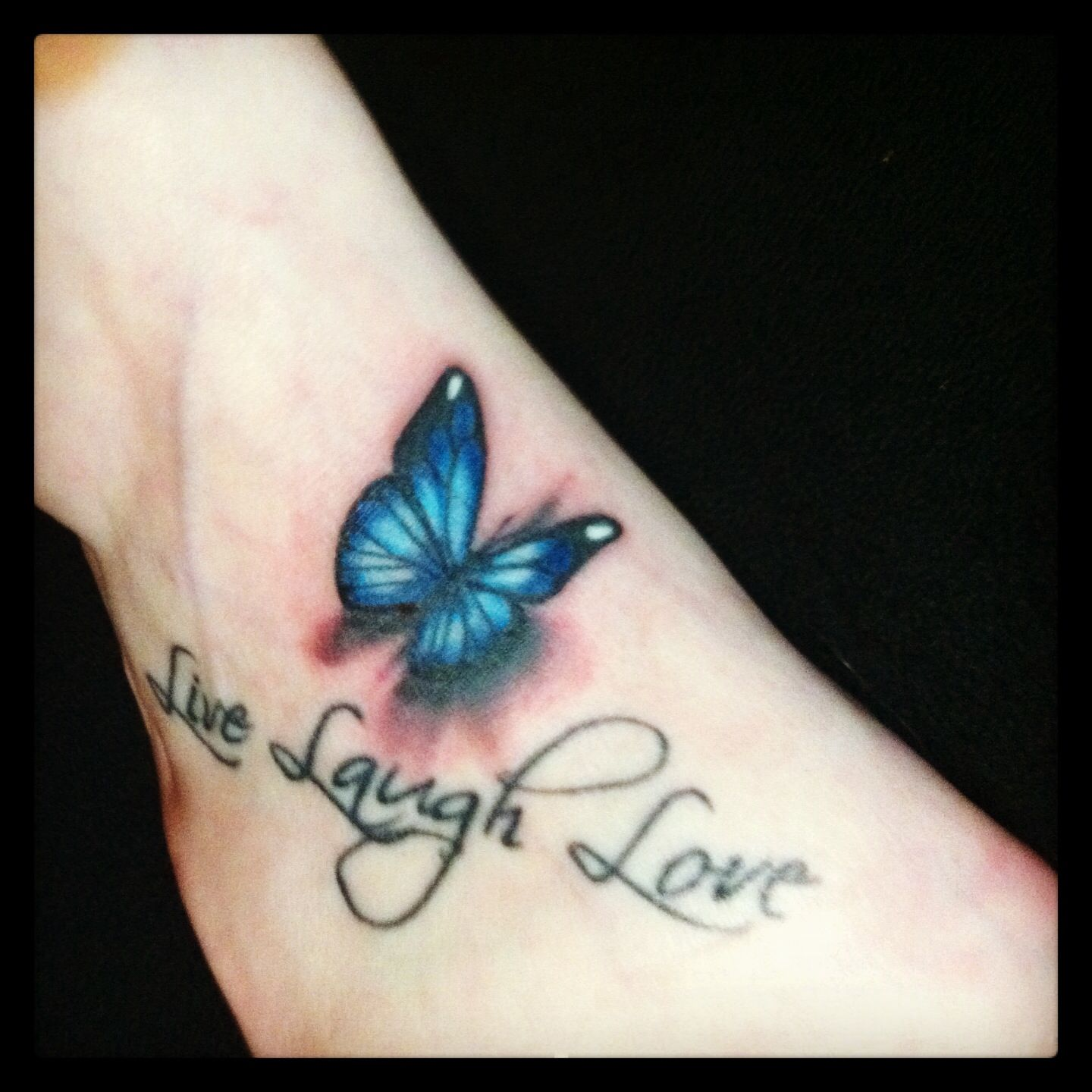 live laugh love 3d butterfly Butterfly tattoo
