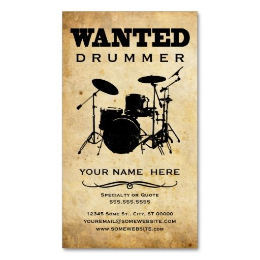 Wanted Drummer Business Card Templates