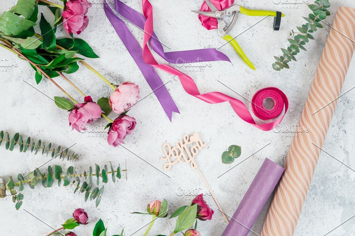Photo of Floristic flat lay with flowers #Sponsored , #AFFILIATE, #ribbons#paper#wooden#L…