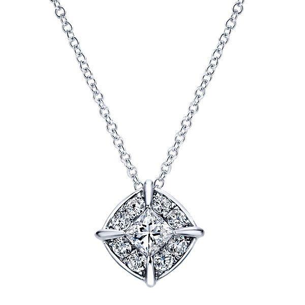 14k White Gold Diamond Fashion Necklace | Gabriel & Co NY | NK4901W44JJ