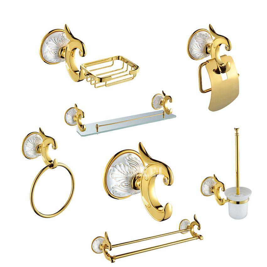 Luxury Antique Gold Bathroom Hardware Hanger Set Towel Bar Hook Soap - Antique gold bathroom hardware