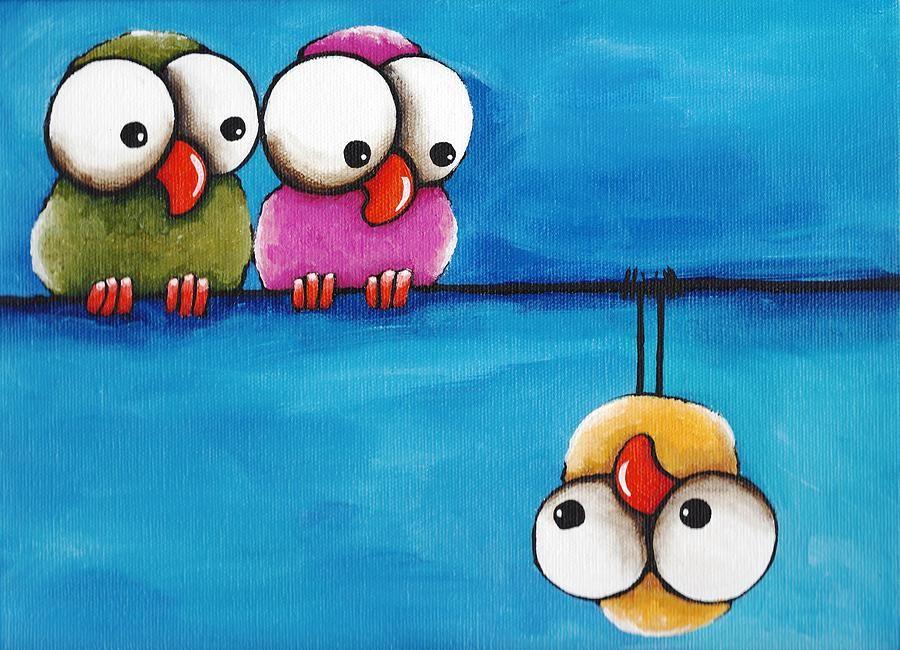 Смешные нарисованные птички картинки, ретро фотографией открытка