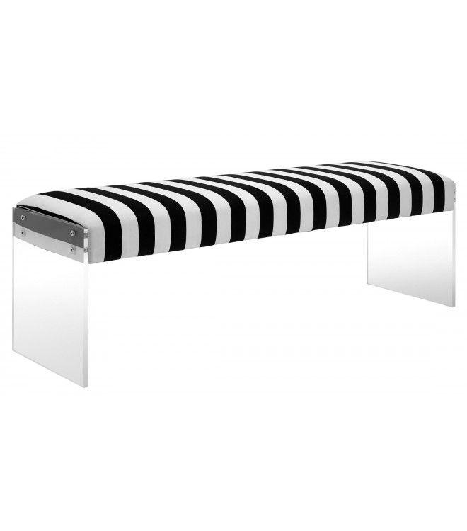 Black Amp White Striped Velvet Bench Flat Acrylic Legs In