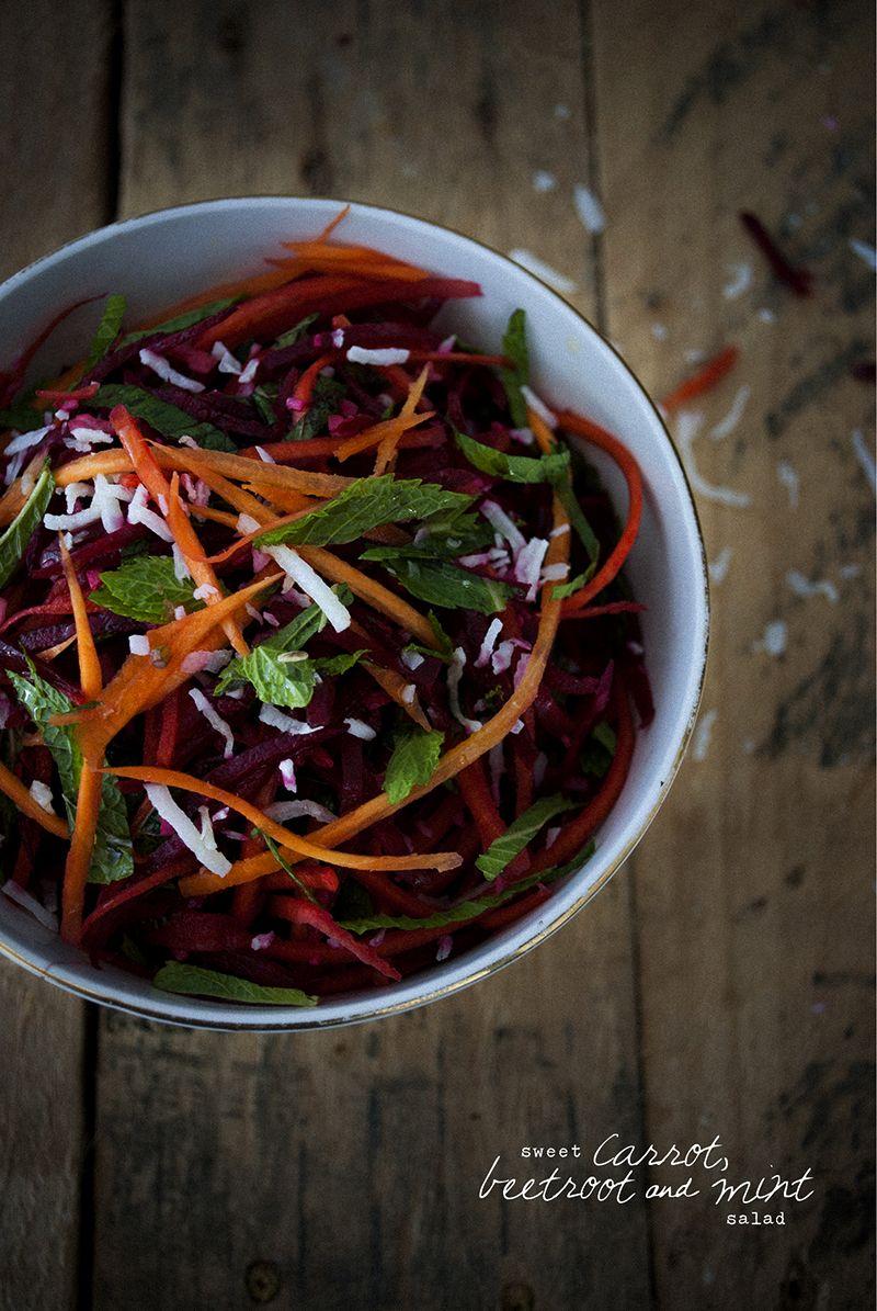 Sweet carrot, beetroot & mint salad