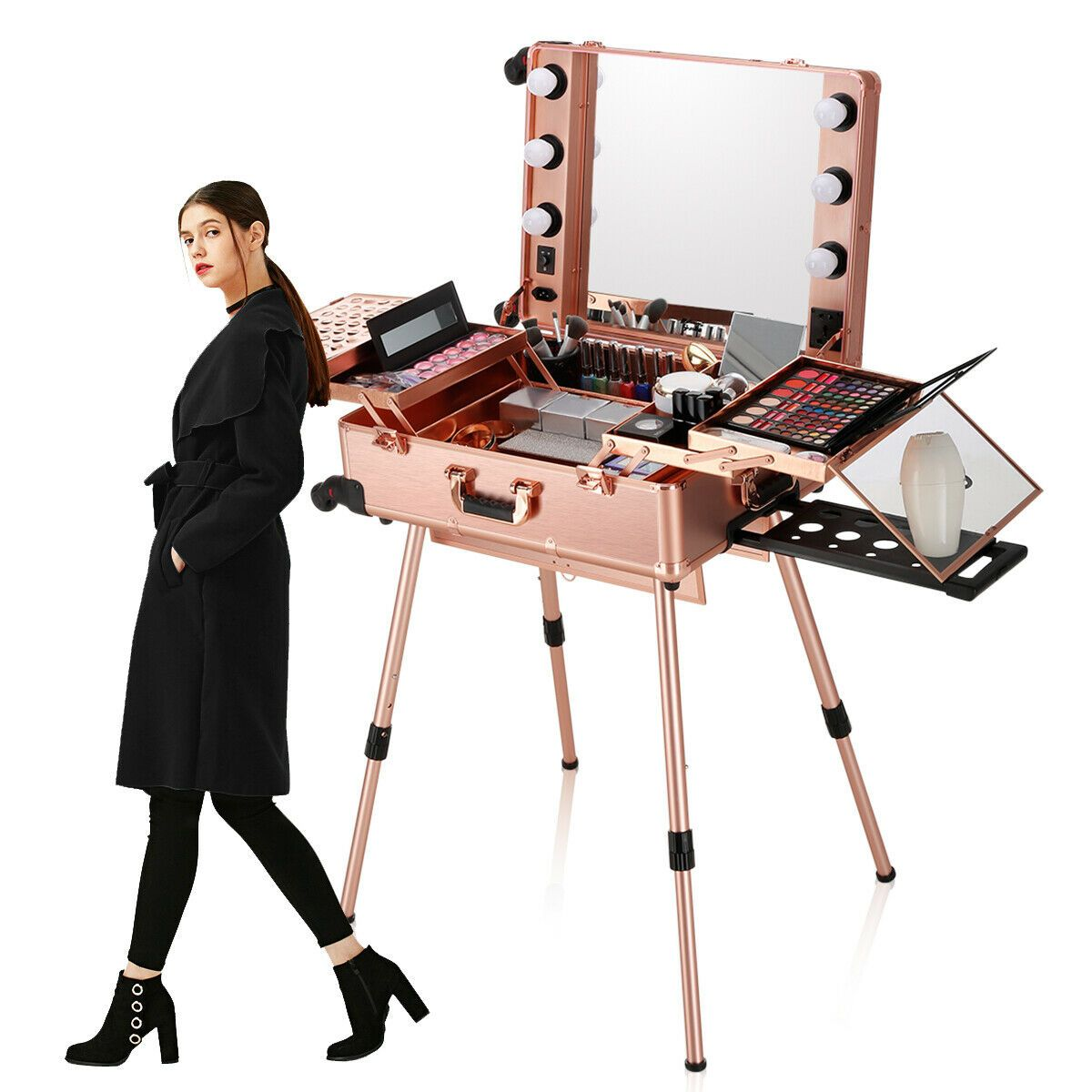 Pro Rolling Travel Makeup Train Case LED Light Standing