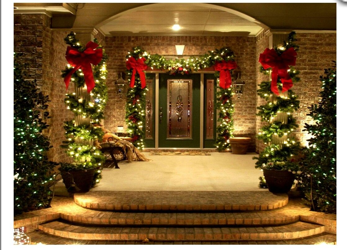 Christmas Garland Ideas For Front Door And Porch Lit Garland Red