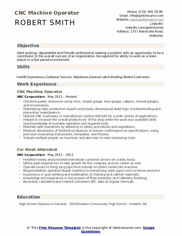 Machine Operator Resume Sample Lovely Cnc Machine Operator Resume Samples In 2020 Makeup Artist Resume Artist Resume Interior Design Resume
