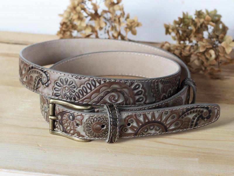 Olive Green Leather Belt, Khaki Belt for women, Hand