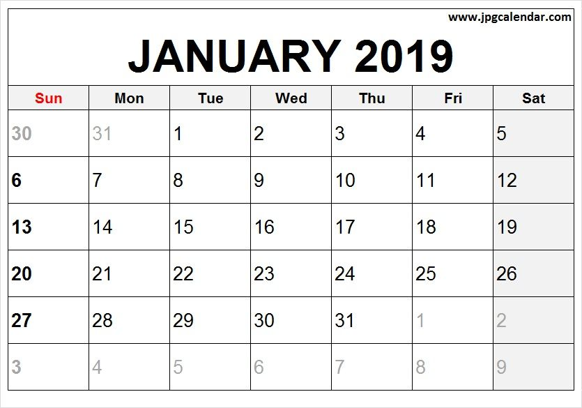 Blank January 2019 Vertical Calendar To Print Jpg Calendar