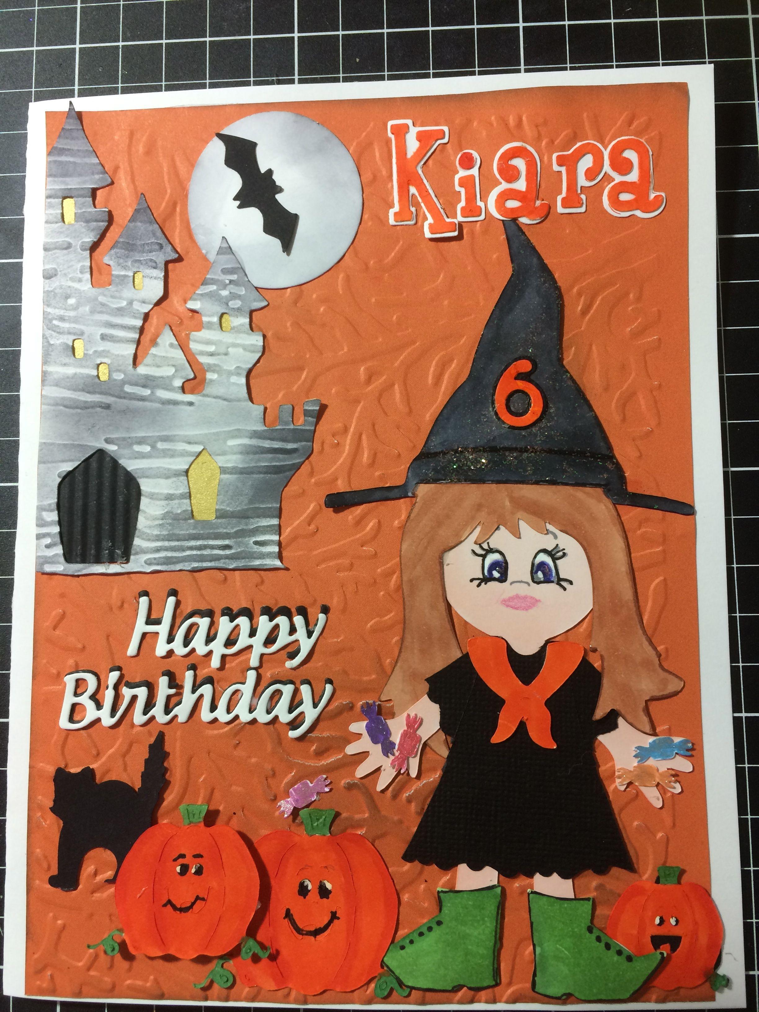 Halloween theme birthday card Paper doll dress ups Cricut