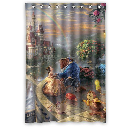 Kids Movie Beauty And The Beast Bathroom Shower Curtain 48 By 72