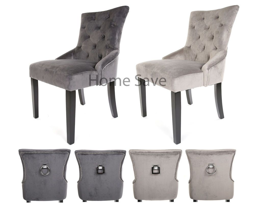 X 2 New Velvet Scoop Back Dining Chair Pair Taupe Or Deep Grey Stud And Knocker Ebay