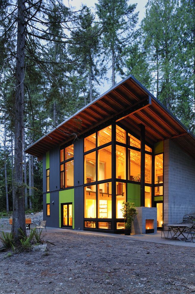Shed Roof Modern House Exterior Contemporary With Sloped Roof Corner Windows Modern House Exterior Outdoor Stone Fireplaces House Exterior