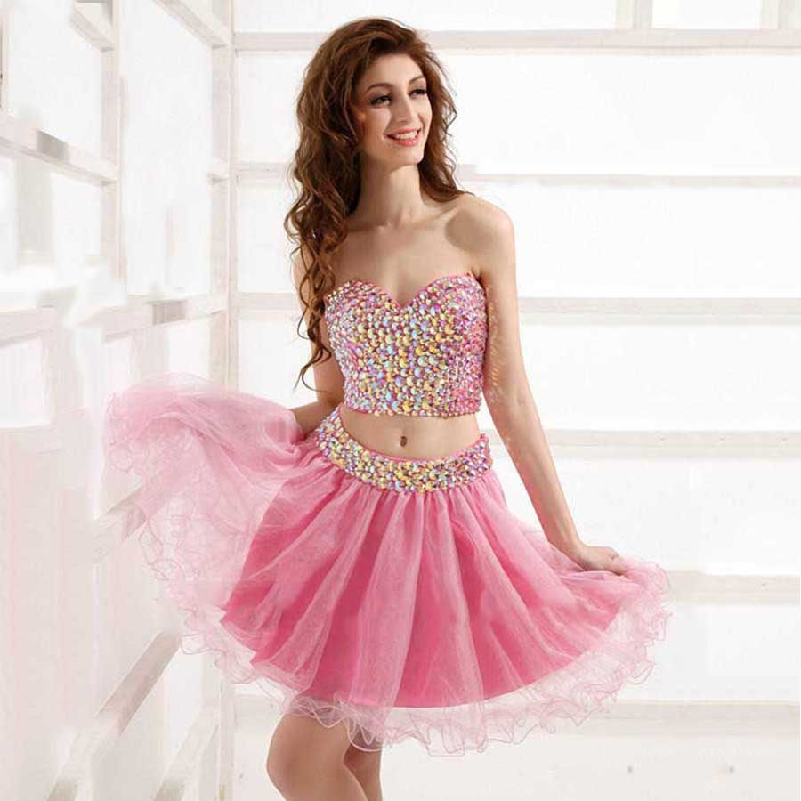 Short two pieces homecoming dresses sweetheart crystal beaded