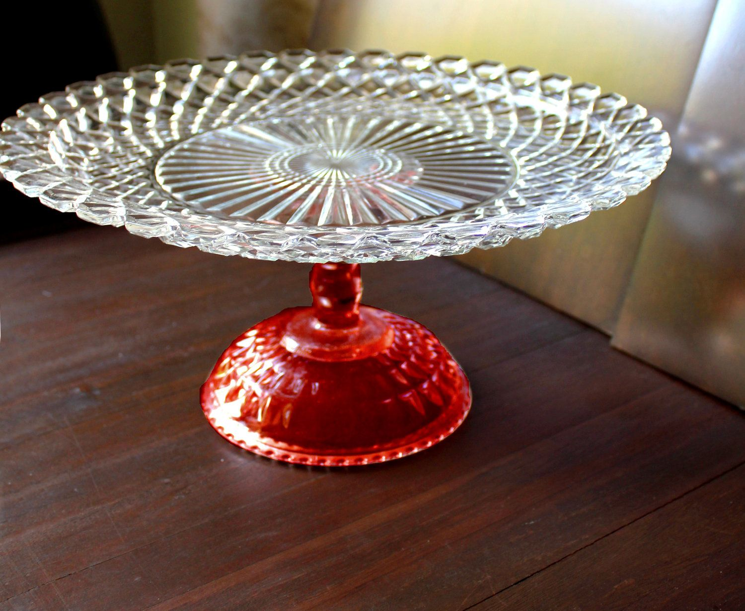 Red Cake Stand / Ruby Red Glass Cake Stand / Vintage Cake Plate Pedestal / Cupcake Stand Truffle Pedestal & Red Cake Stand / Ruby Red Glass Cake Stand / Vintage Cake Plate ...