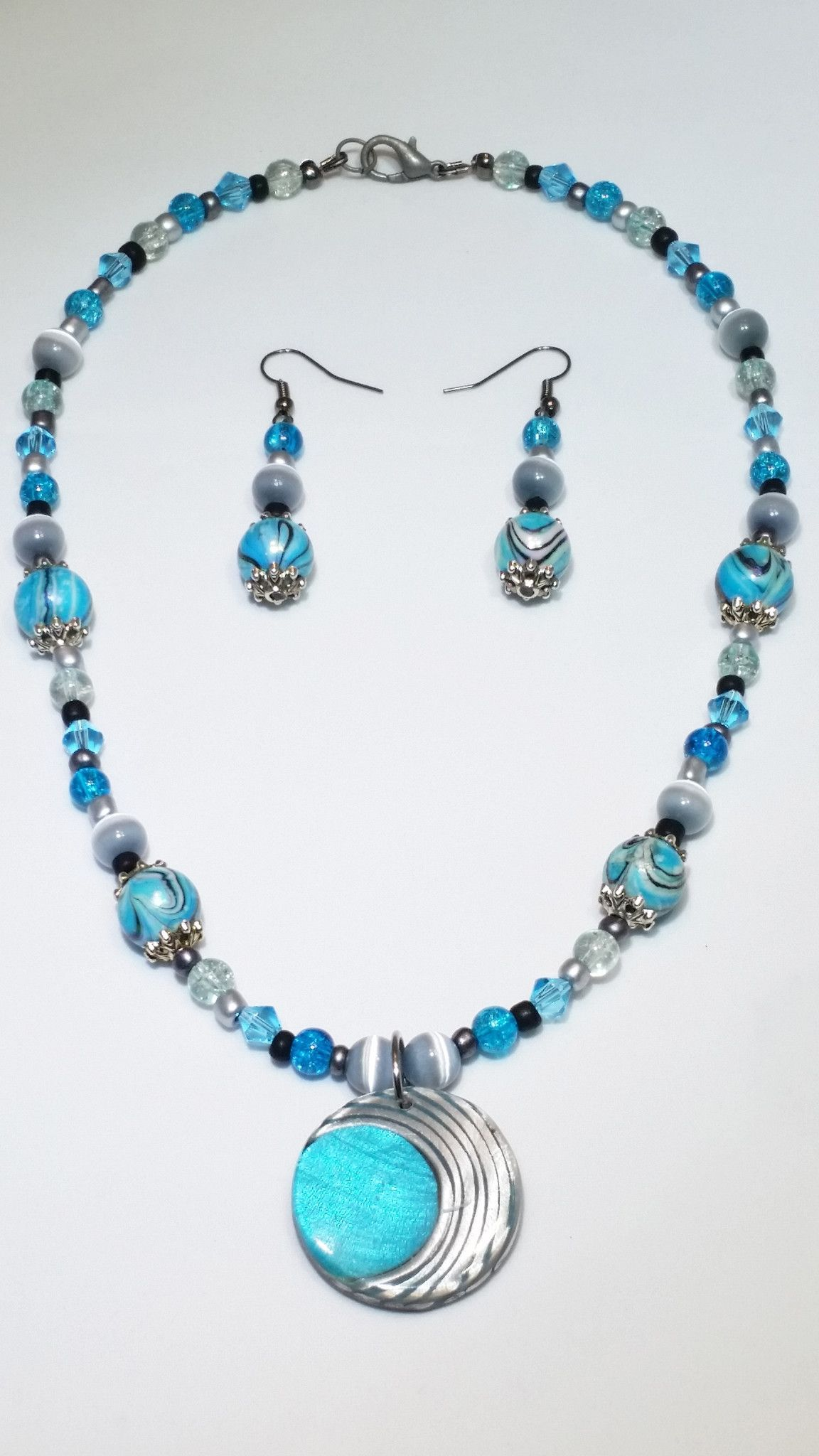 blue fish product pewter long necklace turquoise quartz jasper bead sky blueshore beach