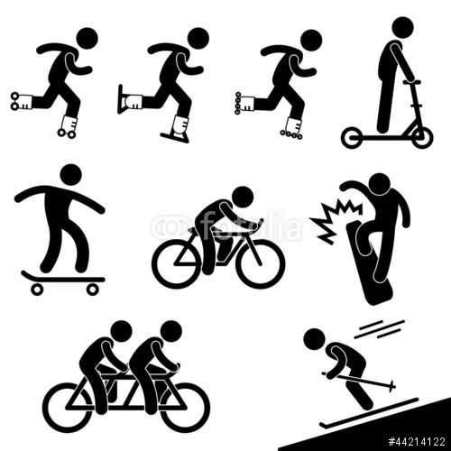 Vektor: Skating and Riding Activity Icon Symbol Sign Pictogram