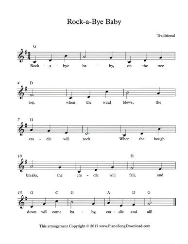 Rock A Bye Baby Lullaby Lead Sheet With Melody Chords And