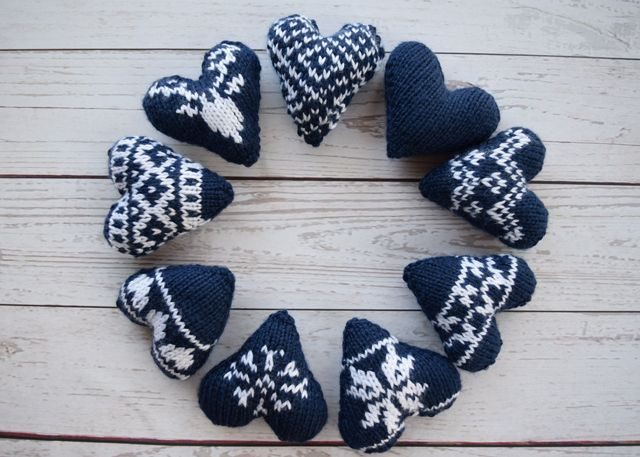 2017010 Knit Fair Isle Hearts Pattern By Midknits Midknits