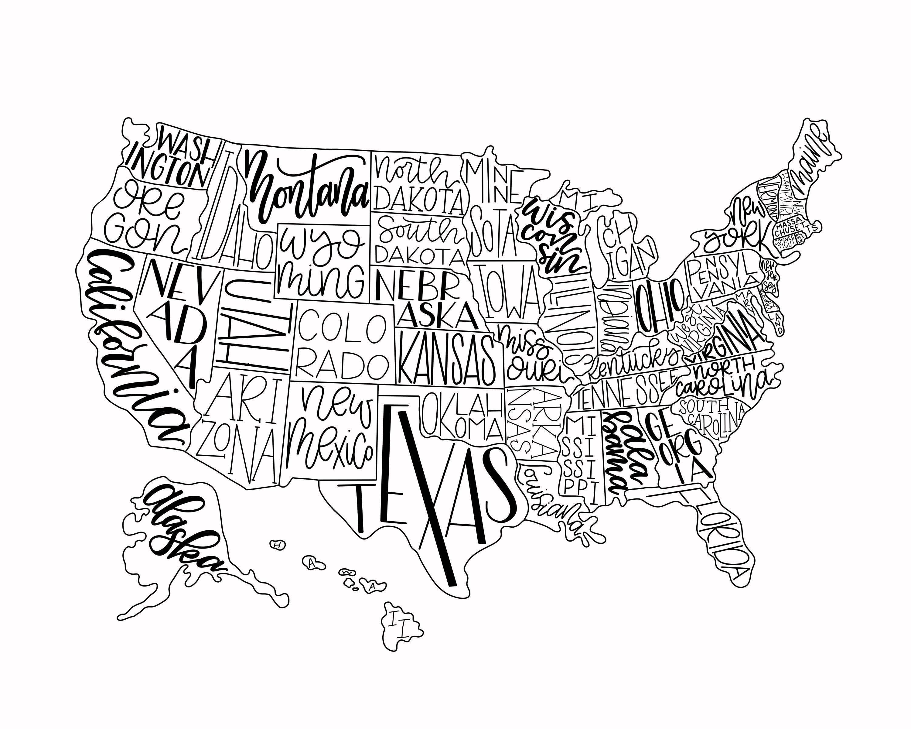 Hand Lettered Map of USA - Map Print, Black and White, Art ...