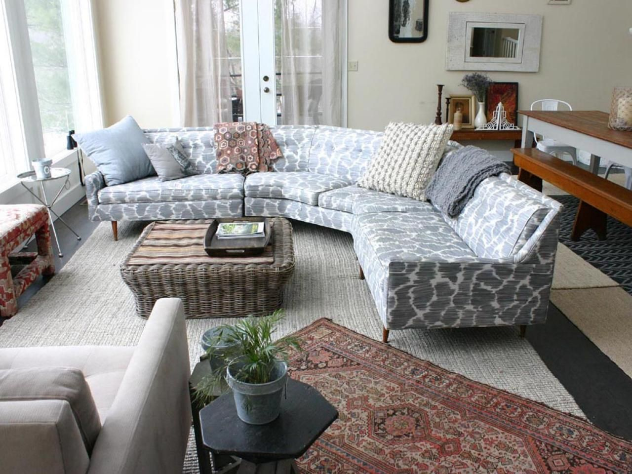 Patterned Pale Blue Circular Sectional Sofa Bed with A Rattan. Queen Anne Living Room Furniture Set. Luxurious Traditional Style Formal Living Room Furniture Set Hd. Embroidery and Use Of Textiles Carpets Usually Rich in Texture