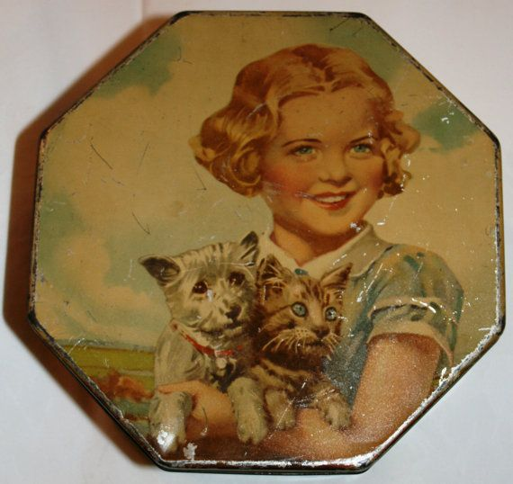Beautiful LCS bakery biscuit tin Playmates girl with by Tinternet