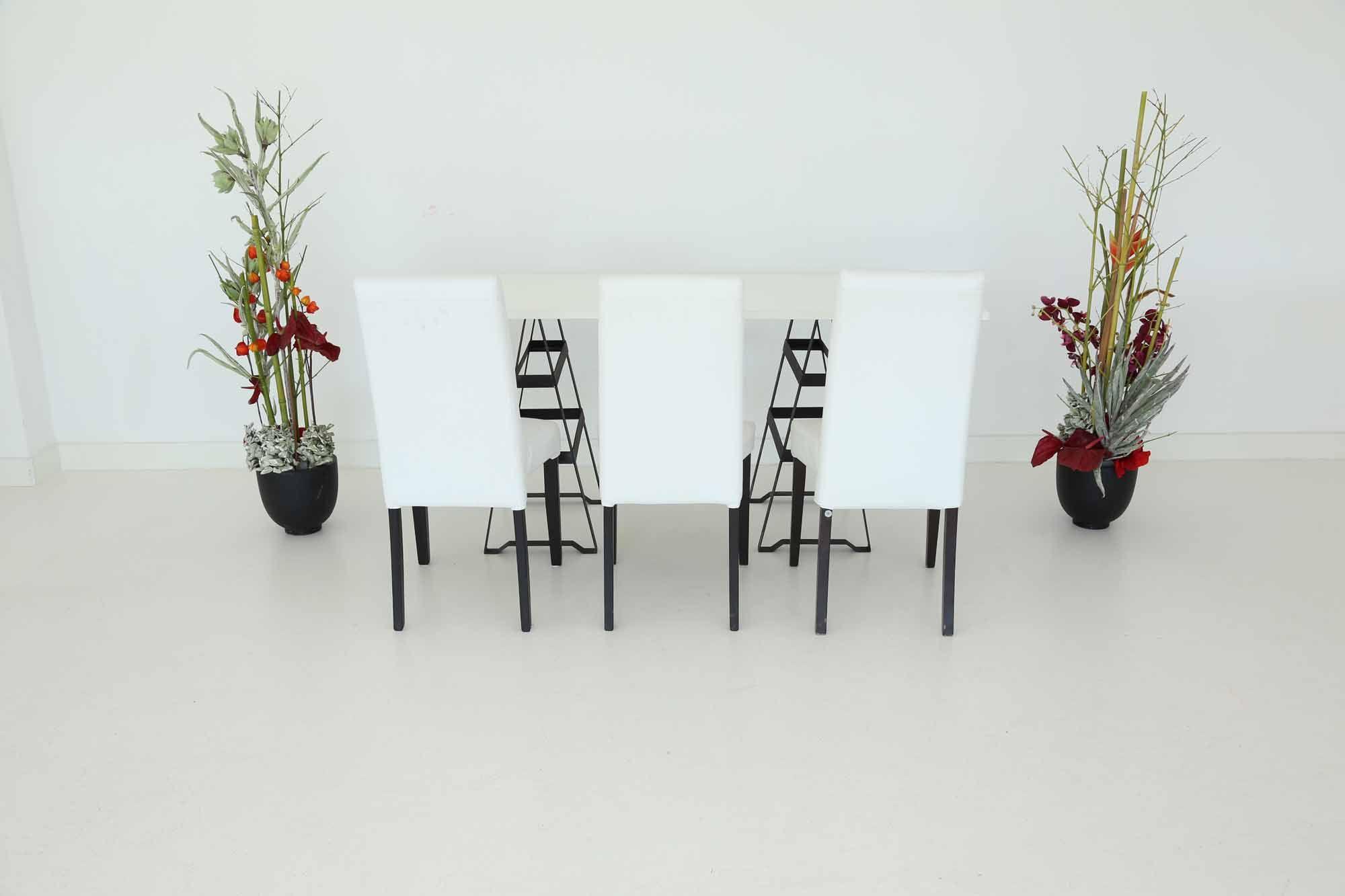 """Tisch """"Industry"""", weiß in Kombination mit den Stühlen """"Nivo"""" in weiß"""