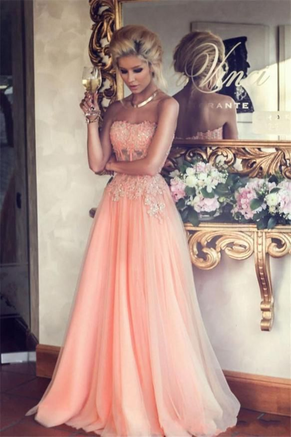 New Arrival A-line Strapless Lace Appliqued Bodice Blush Tulle Skirt Long  Prom Dresses for 2015 Party