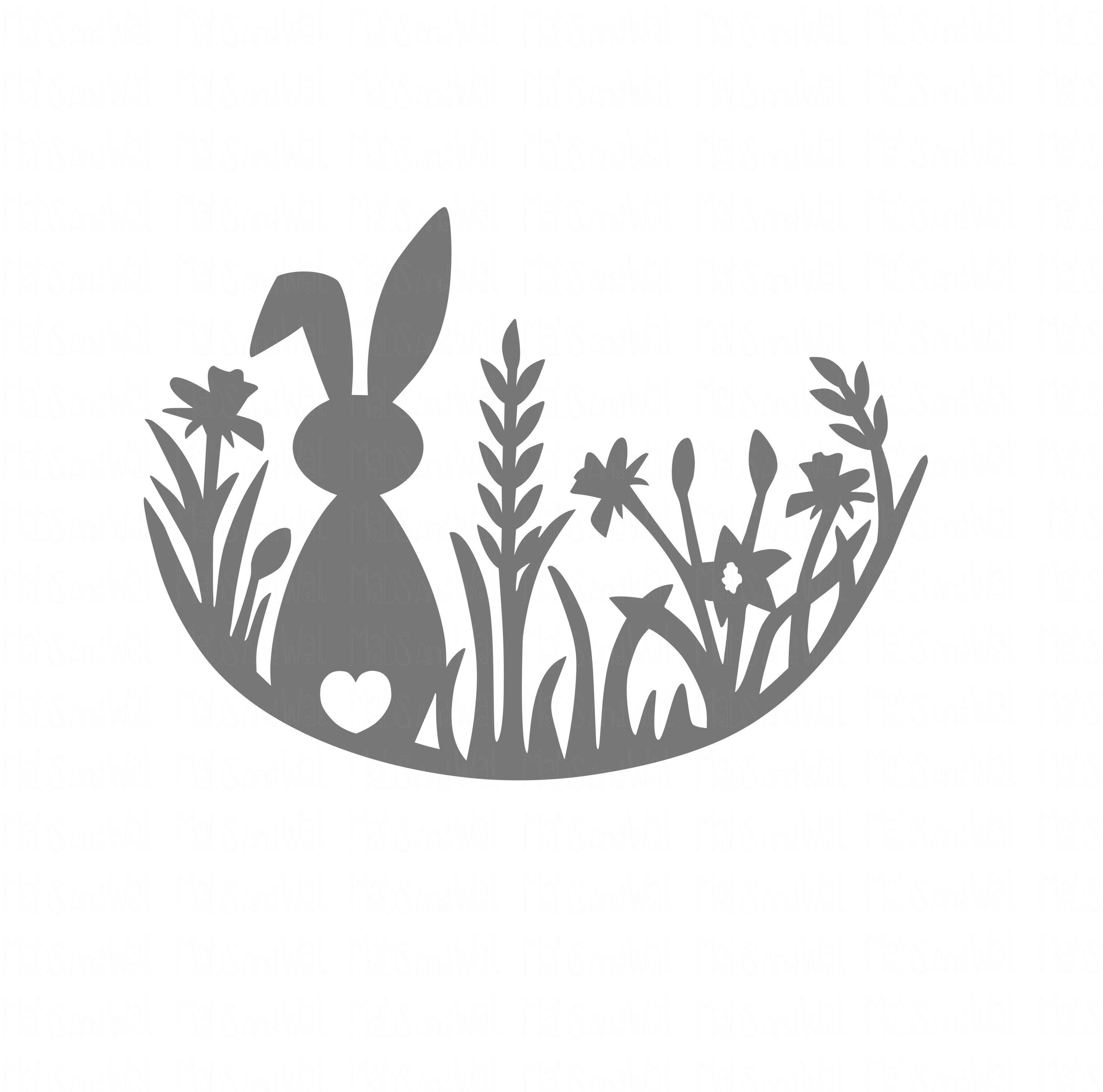 Photo of Rabbit in meadow SVG PNG DXF digital cutting file/rabbit svg/easter bunny svg/meadow rabbit/easter egg/easter rabbit/papercutting template