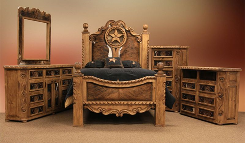 Rope And Star Rustic Bedroom Set With Cowhide Accents Rustic Bedroom Sets Spare Bedroom Decor Rustic Bedroom