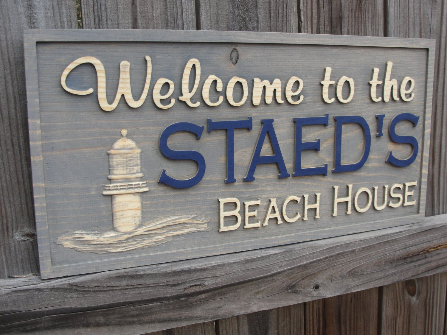 Carved Cabin Sign Rustic Beach House