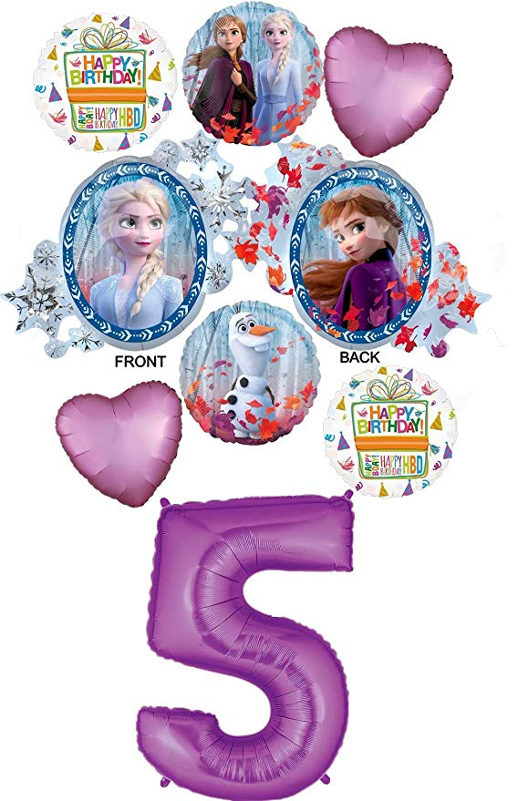 Amazon Com Frozen 2 Party Supplies 5th Birthday Elsa Anna And Olaf Balloon Bouquet Decorations Purple Number 5 Toy Balloon Bouquet Party Supplies Balloons