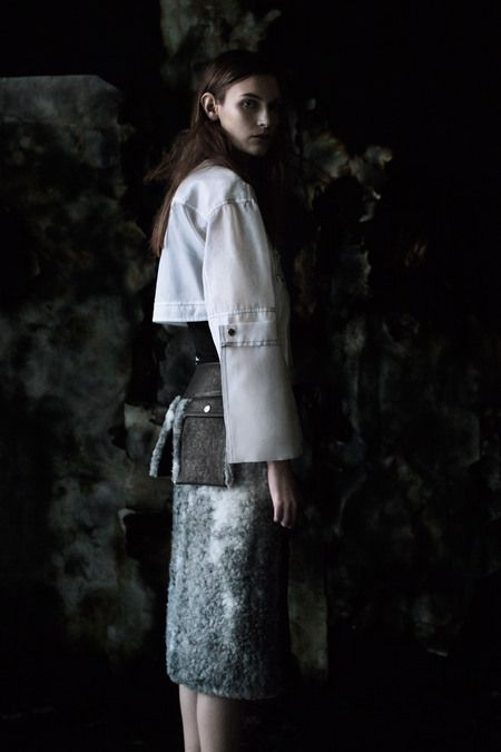 Melee white organza blouse with Bazooka skirt in shearling fur and leather, AW 13 Photo: Julia Hetta Styling: Naomi Itkes Model: Fia L, Stockholmsgruppen