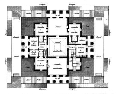 Projet de maison de campagne 3 - Plan - Claude-Nicolas Ledoux