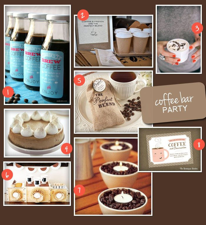 Perfect Party Theme A Coffee Bar Party Favor Affair Blog Coffee Party Coffee Bar Party Starbucks Party