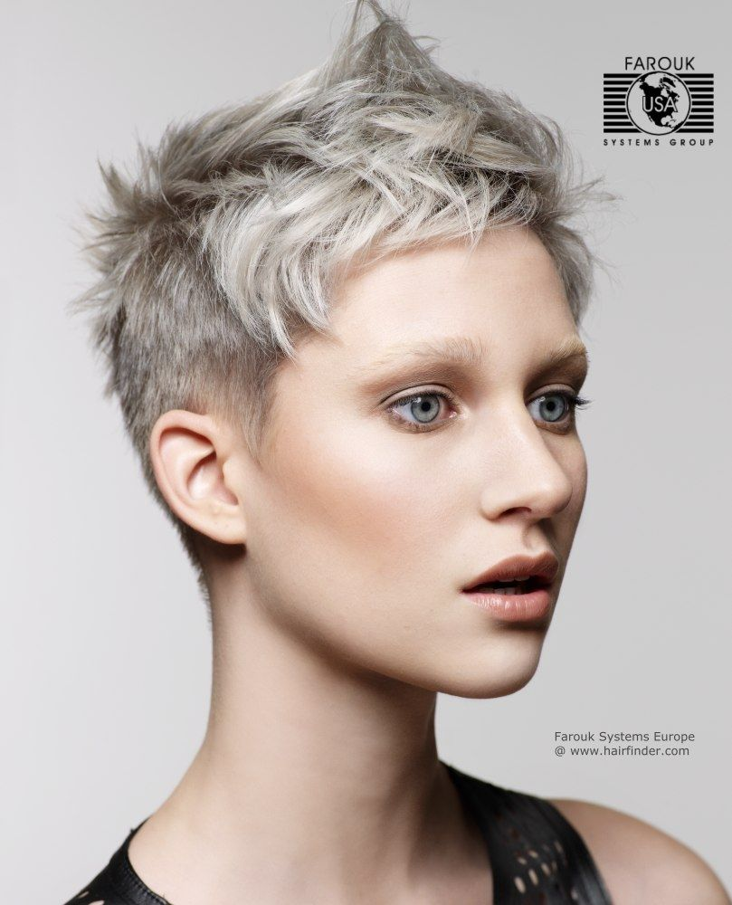 Teachers short crop silver metallic hair color with a hint of blue