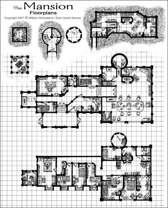 The Mansion Floorplans Pathfinder Maps Fantasy Map Dungeon Maps